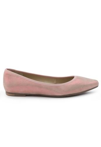Shu Talk 粉紅色 羊軟皮嘴唇圖案尖頭低跟鞋 SH544SH099V1TW_1
