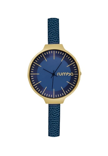 RumbaTime blue and gold Rumbatime Orchard Leather Watch Midnight Blue RU023AC68ZXNHK_1