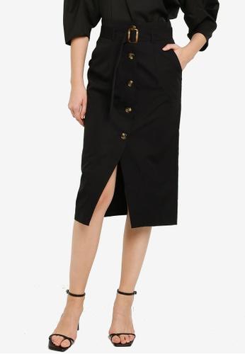 ZALORA WORK black Button Down Skirt With Belt D5BC9AA790D5E5GS_1