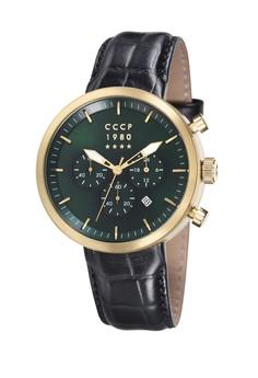 CCCP 男仕黑色真皮皮革腕錶 - CP-7007-03