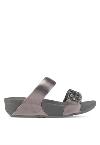 Fitflop grey and silver Sparklie Roxy Slide Sandals EEC38SH9C11480GS_1
