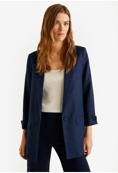 6641c22754d MANGO blue and navy Structured Linen Jacket F5FE4AA3D997ABGS 1