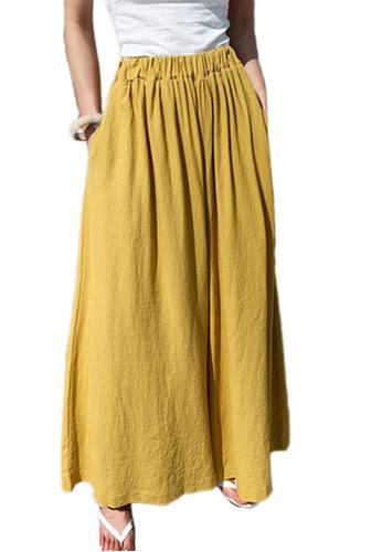 Sunnydaysweety yellow Cotton Hemp Wide Leg Pants CA052004YE 95EDAAA1E49AD7GS_1