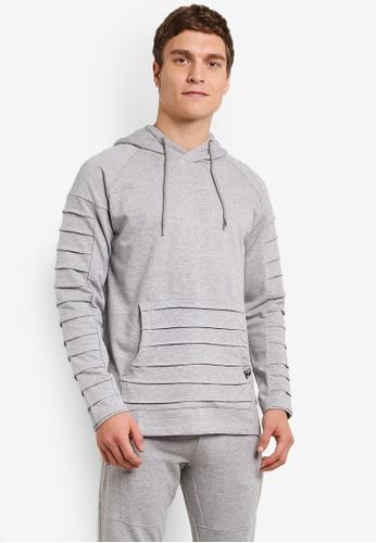 Indicode Jeans grey Garden Grove Pleated Asymmetrical Zipped Sweatshirt IN815AA0ROM0MY_1