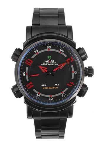 Weide red Weide Dual Time Led Wh1101 Full Black Sport Digital Analog Watch Red WE079AC0RQKAMY_1
