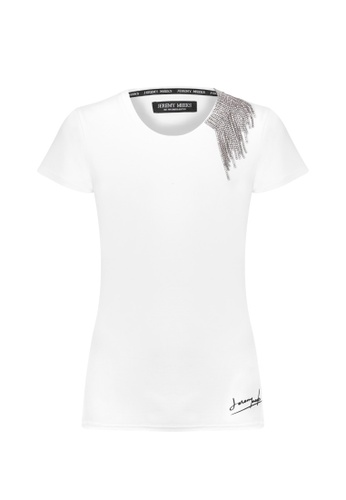 Jeremy Meeks white Women T-Shirt With Metalic And Rhinestone Detail White 558FDAAAB3F379GS_1