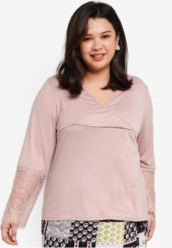 Lubna beige Plus Size Lace Sleeve Nursing Inner 7AE67AAA953691GS_1