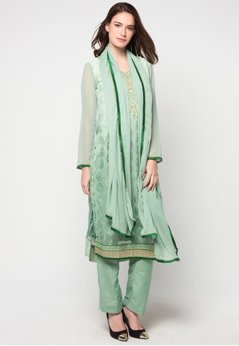 Chanira Festive Collection green Ranica Long Tunic Set CH354AA30BJTID_1
