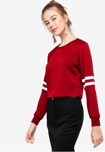 Something Borrowed red Cropped Long Sleeves Sweater Top 0114EAA44D7CA8GS_1