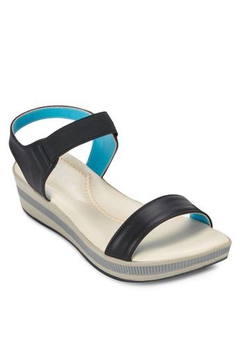 彈性繞踝撞色楔形涼鞋、 女鞋、 鞋Spiffy彈性繞踝撞色楔形涼鞋最新折價