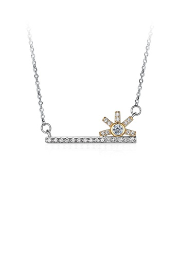 Glamorousky white 925 Sterling Silver Fashion Creative Sun Key Necklace with Cubic Zircon B3927ACAE2160FGS_1