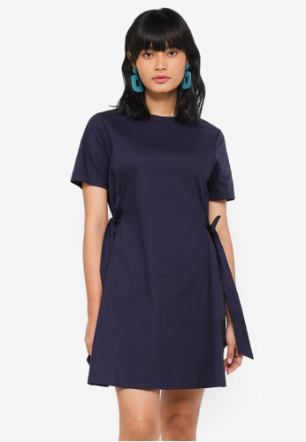 Something Borrowed navy Tie Detail Shift Dress 48C50AA893ECC8GS_1