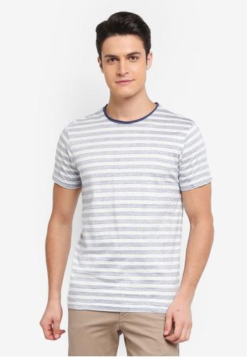 Indicode Jeans white Simon Reversed Print Striped T-Shirt 36BC1AA0E24B13GS_1