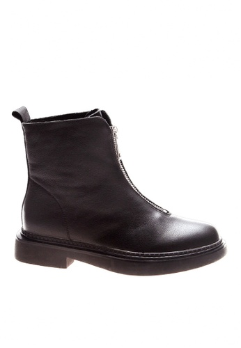 Twenty Eight Shoes black Top Layer Cowhide Front Zipper Mid Boots VB119 3F8B0SH68B3D23GS_1