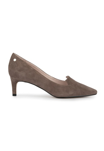 MAUD FRIZON brown Kid Suede Pointy Toe Pump With Stud Detail 613BDSH717D764GS_1