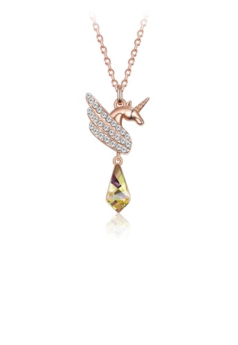 Glamorousky white Fashion Elegant Plated Rose Gold Unicorn Pendant with Austrian Element Crystal and Necklace 1B022AC487AF79GS_1