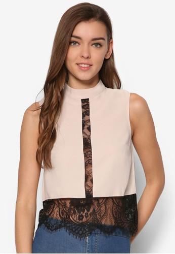 蕾絲esprit台北門市拼接高領無袖上衣, 服飾, 上衣