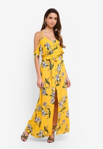 River Island yellow Floral Print Cold Shoulder Maxi Dress 465EEAA616A828GS_1