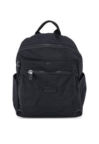 Bagstationz black Crinkled Nylon Small Backpack DE4F6AC13FD962GS_1