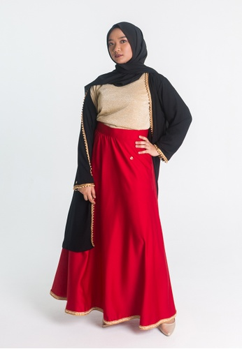 Zaryluq red High Waist Maxi Skirt in Flaming Red 5F416AA66AE8E8GS_1