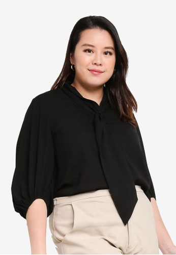 Ex'otico black Puffy Sleeve Blouse 242A5AA4C506ABGS_1