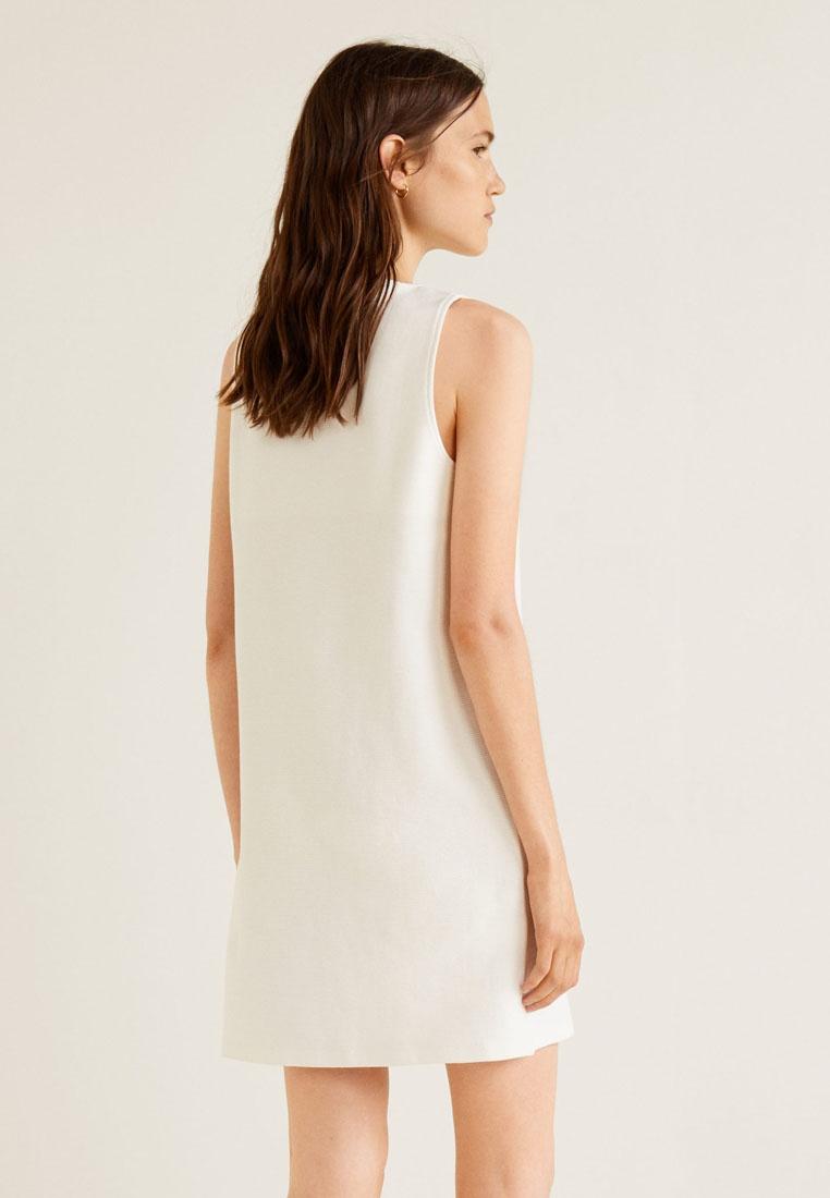 Blend Dress White Textured Cotton Natural Mango 58YwnFOx