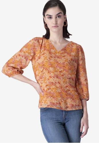 FabAlley orange Floral Elasticated Sleeves Peplum Top 87451AAFF2EB93GS_1