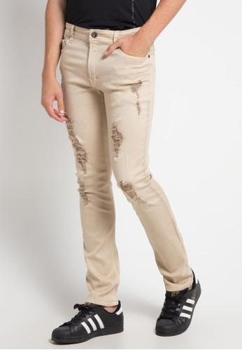 BRONCO beige Slim Fit Ripped Chinos EAE6AAA2DC414CGS_1