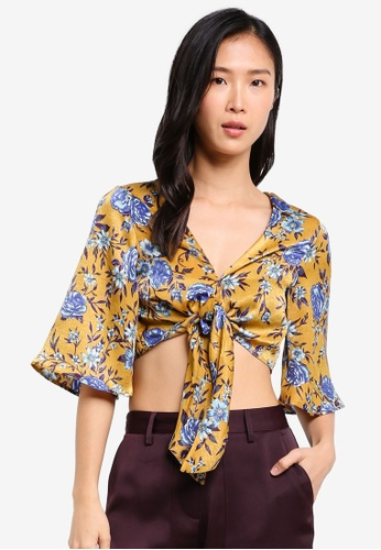 TOPSHOP yellow Floral Front Knot Top TO412AA0SHH0MY_1