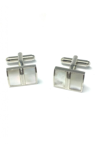 Splice Cufflinks white and silver Pearl White 2 Section Cufflinks SP744AC32FSLSG_1