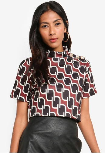 River Island red Red Geo Print Top CF646AA231438EGS_1