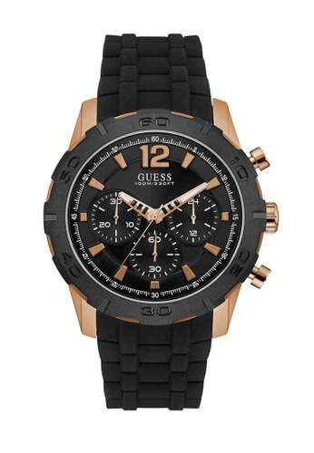 Guess Caliber Rose Gold And Black Rubber Watch