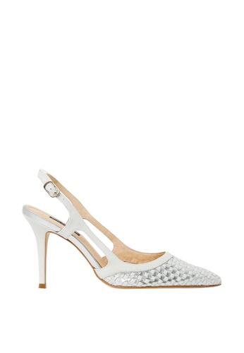Nina Armando white and silver Bridget Patent Leather Slingback High Heel NI342SH0FV8SSG_1