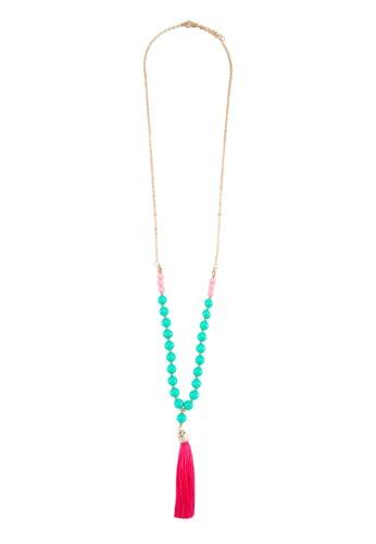 撞色流蘇珠子墜飾項鍊, zalora時尚購物網評價飾品配件, 項鍊