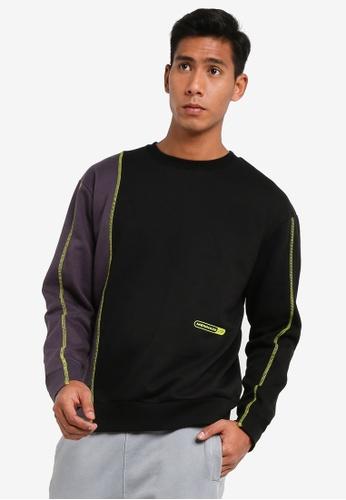 Mennace black Contrast Stitch Sweatshirt 15E52AA6B496ACGS_1
