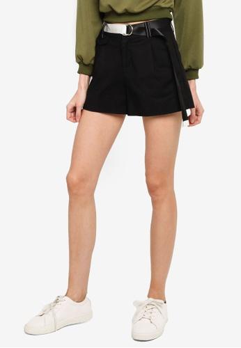 Hopeshow black High Waist Shorts With Two Tone Belt B2A34AA99C26C4GS_1
