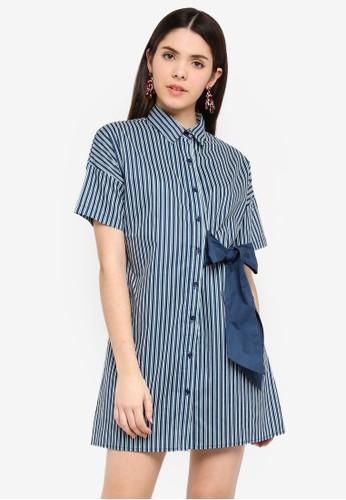 Glamorous multi Navy Green Stripe Dress C87EEAA5C0E617GS_1