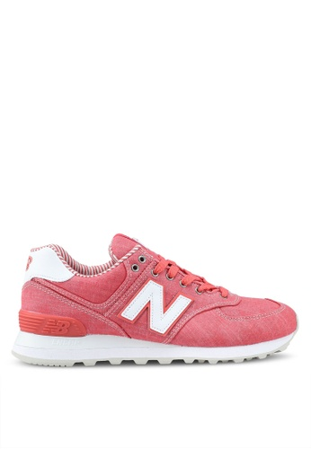 New Balance 紅色 and 粉紅色 574 Lifestyle Sneakers 0BD7BSH7D6DD35GS_1