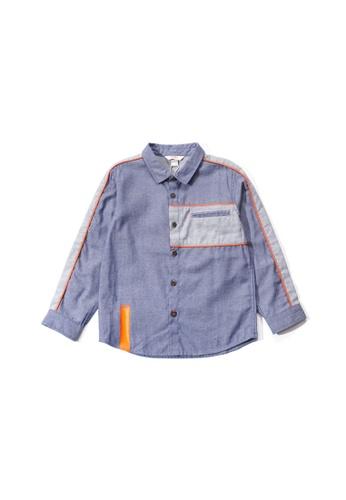 PONEY blue Poney Toddler Asher Colour Blocking Long Sleeve Shirt A4EAEKAA5656E4GS_1