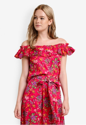 Mango pink Printed Off-Shoulder Top MA193AA11CCMMY_1