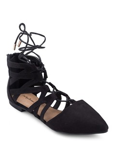 Laced Up Ghillie Pointed Flats