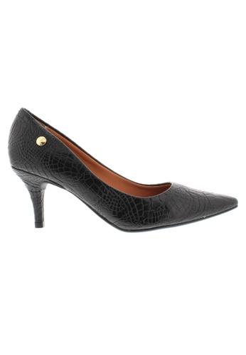 Beira Rio black Pointed Croco Design Kitten Heeled Shoes BE995SH27XFCHK_1