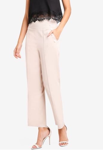 ZALORA beige Wide Leg Trousers With Buttons Details 6C033AA2CF8FD3GS_1