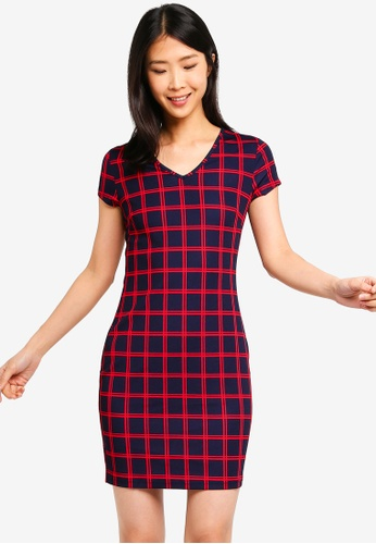 ZALORA BASICS multi Basic V-Neck Sheath Dress 166E4AA7206078GS_1