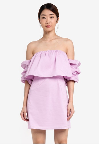 Something Borrowed purple Stacked Sleeve Off Shoulder Dress B1653AA1EAC0FAGS_1