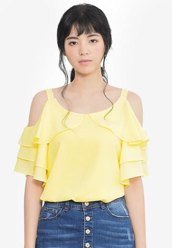 Kodz yellow Open-Shoulder Top 1207FAA5F6815EGS_1