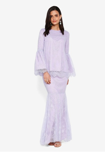 Lubna purple Full Lace Flared Sleeve Kurung 5F72AAA3F31720GS_1