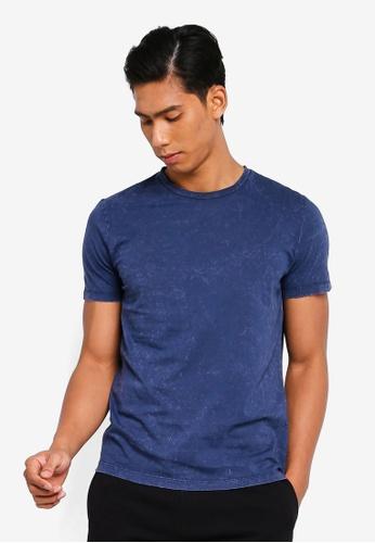 OVS 海軍藍色 品牌刺繡T恤 E693DAA5D6E92EGS_1