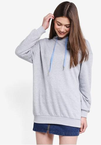 Something Borrowed grey Longline Fleece Hoodie A9BA7AA8B45E84GS_1