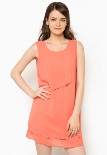 褶飾層次zalora時尚購物網評價連身裙, 服飾, 洋裝